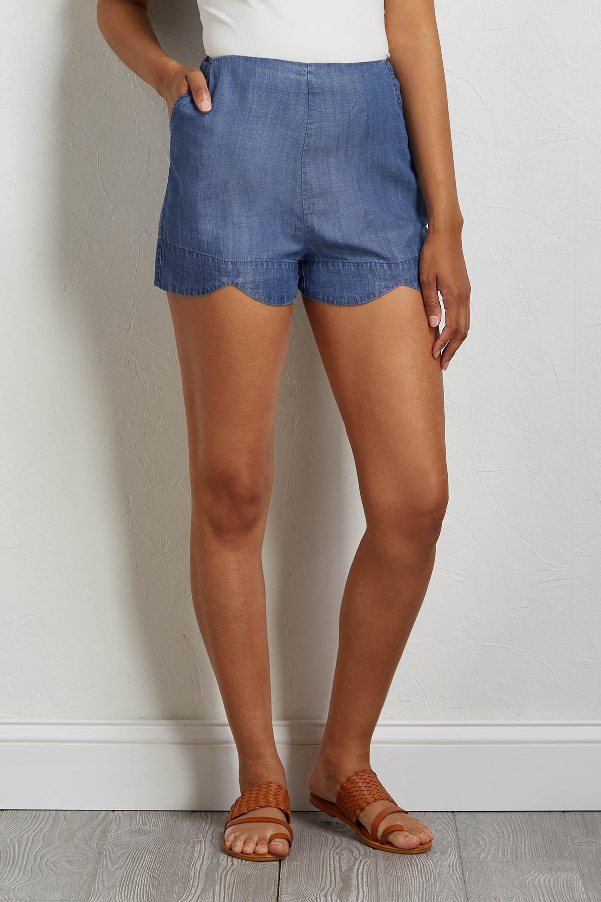 Scalloped Chambray Shorts