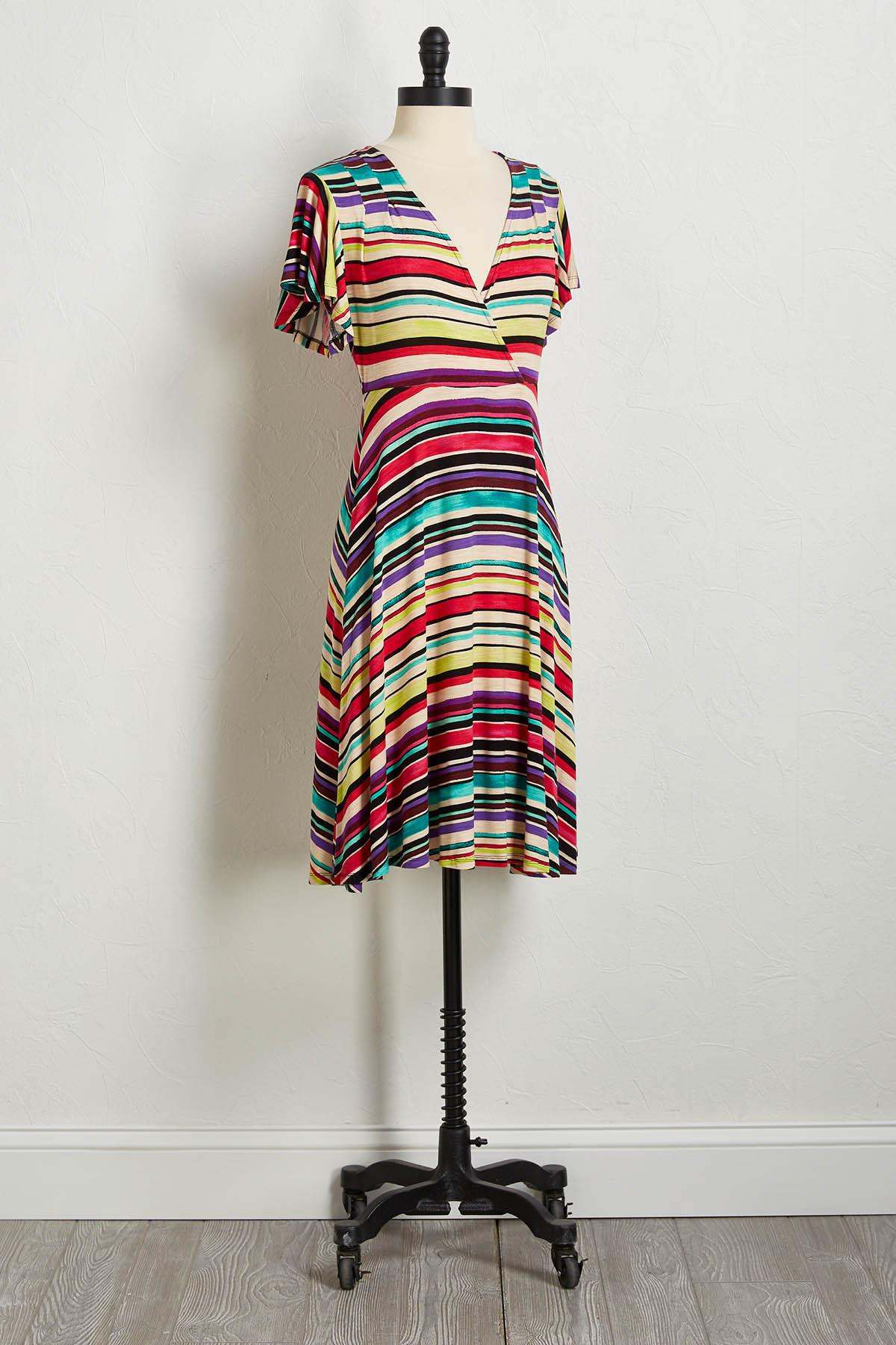 Raspberry Multi Stripe Dress