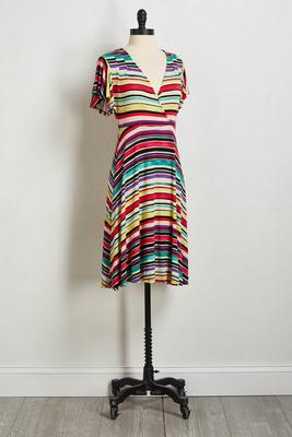 raspberry multi stripe dress