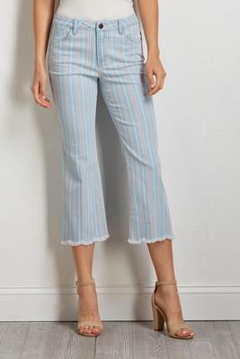 cropped stripe jeans