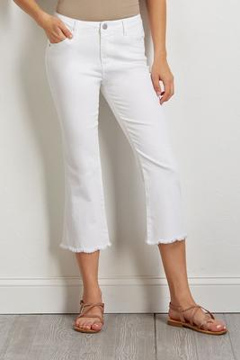 cropped scalloped frayed jeans