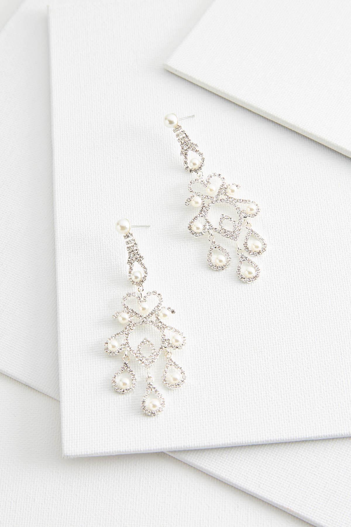 Pearl Rhinestone Chandelier Earrings
