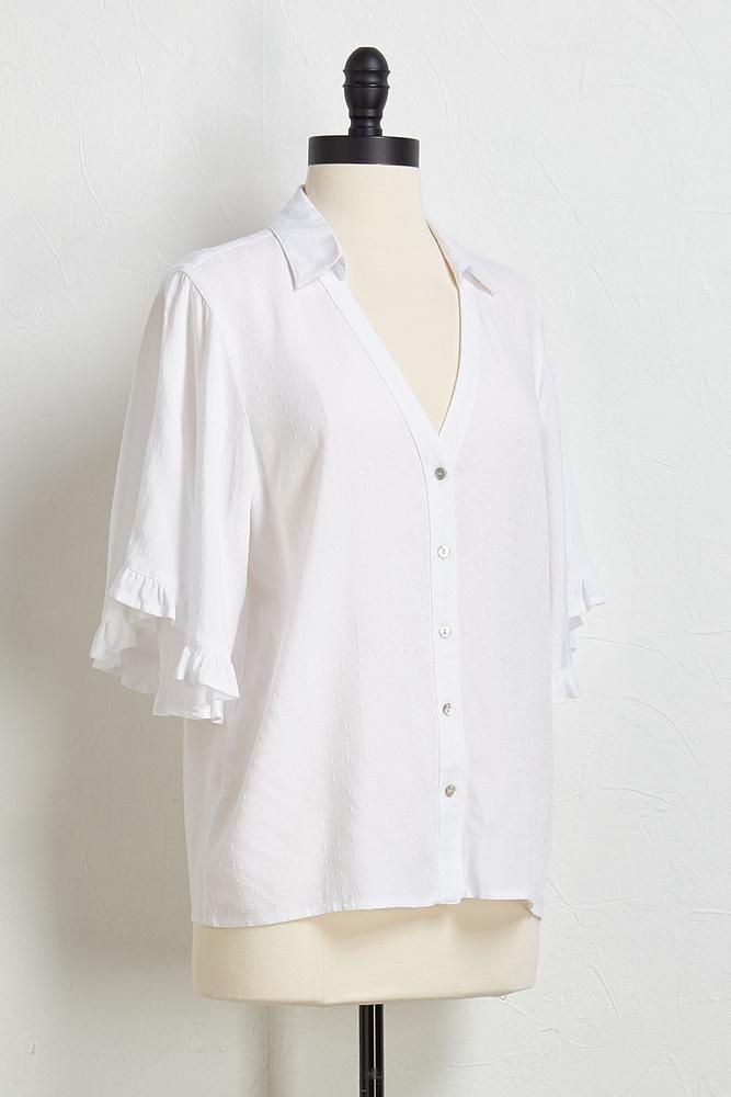 Textured Ruffled Sleeve Top