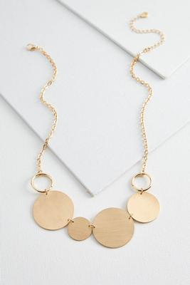 brushed textured disk necklace