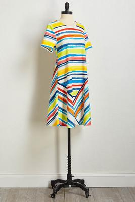 multi brushed stripe shift dress