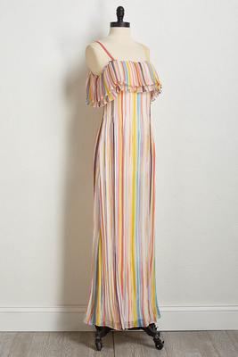 pleated rainbow maxi dress