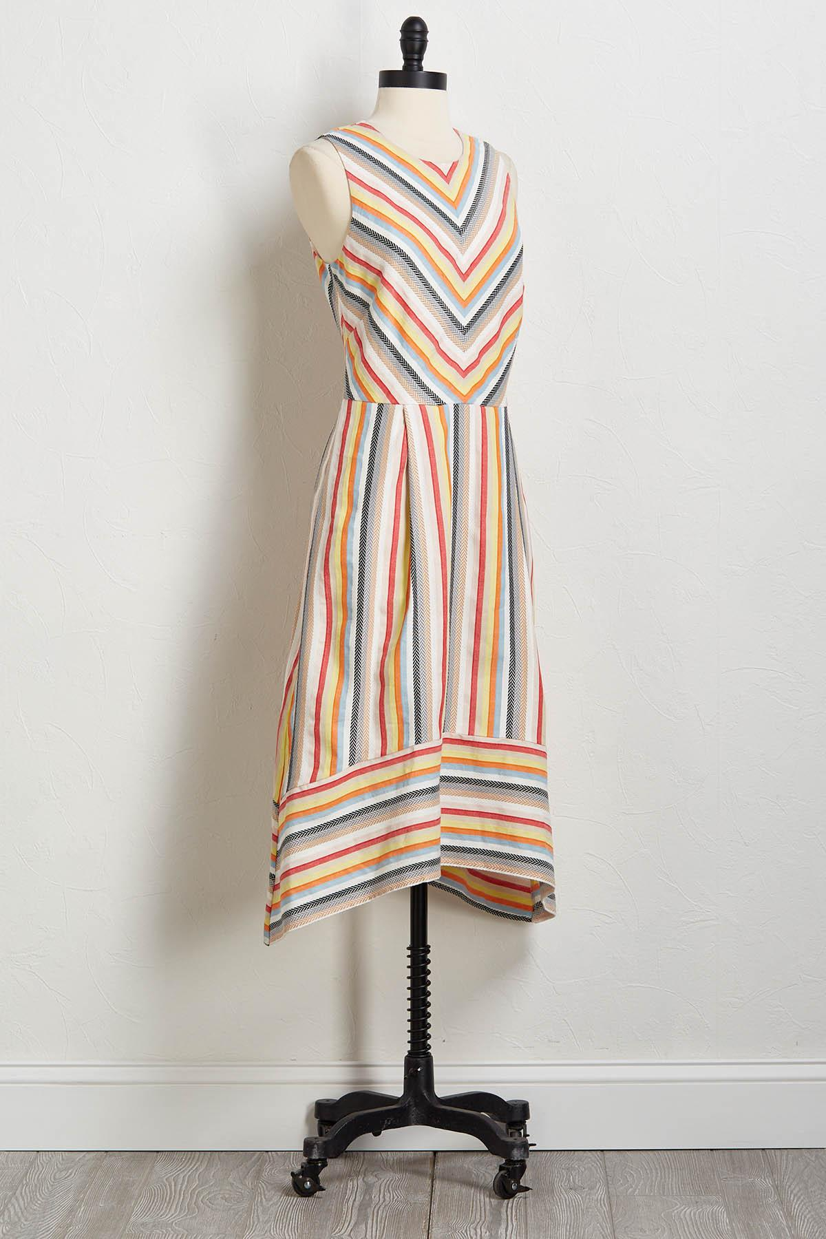 Multi Stripe Linen Fit And Flare Dress
