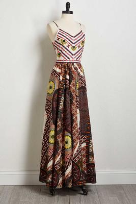 earthy floral embroidered maxi dress