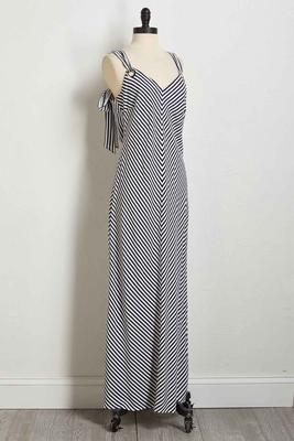 striped grommet tie maxi dress
