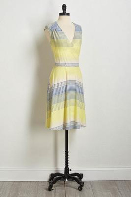textured stripe fit and flare dress