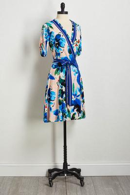blue ruffled tie waist dress
