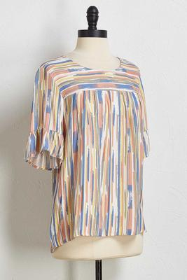 brushed multi stripe top