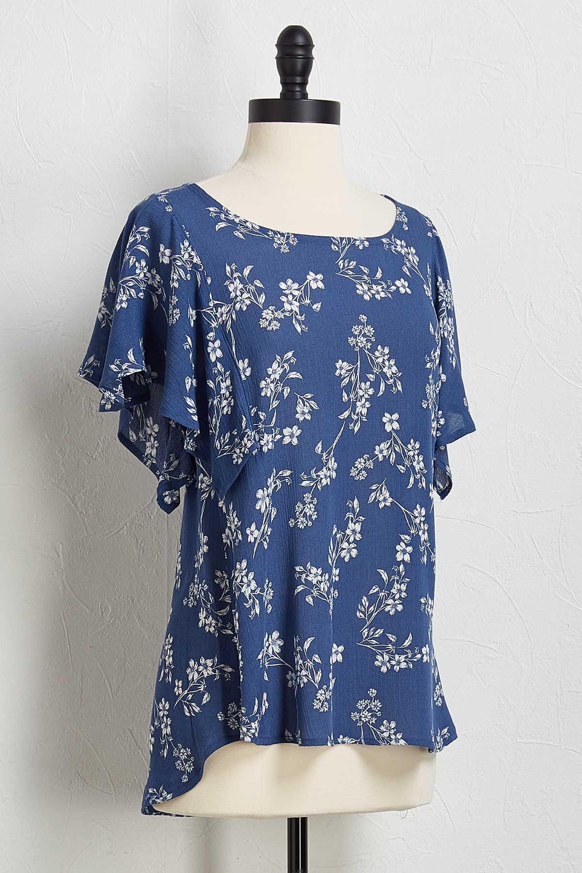Blue Floral Flutter Sleeve Top