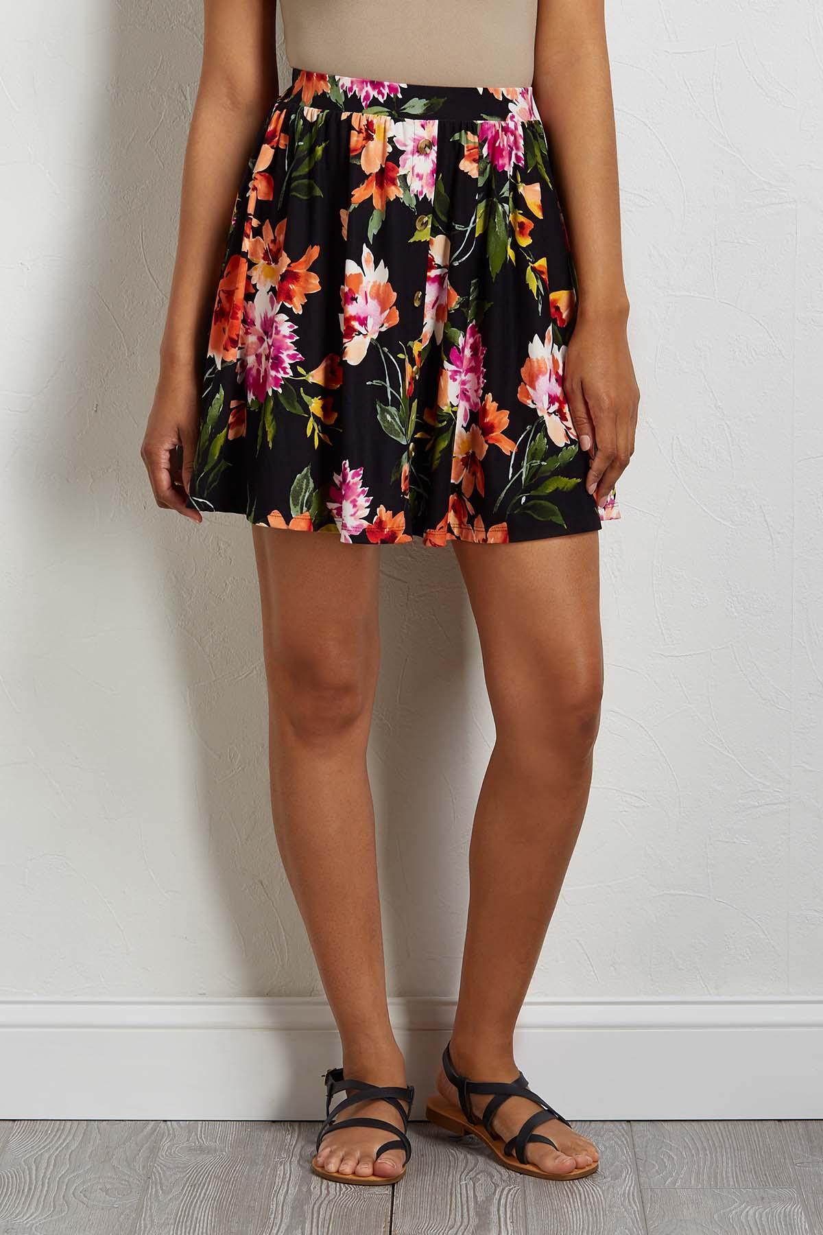 Floral Button Front Mini Skirt
