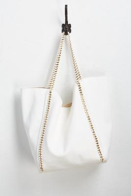 white vegan leather tote