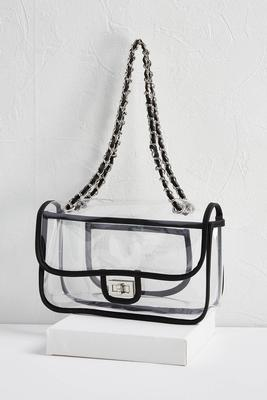 clear black trim crossbody bag