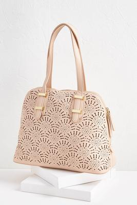 cutout faux leather satchel