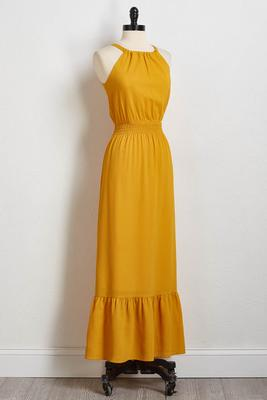 crepe ruched waist maxi dress