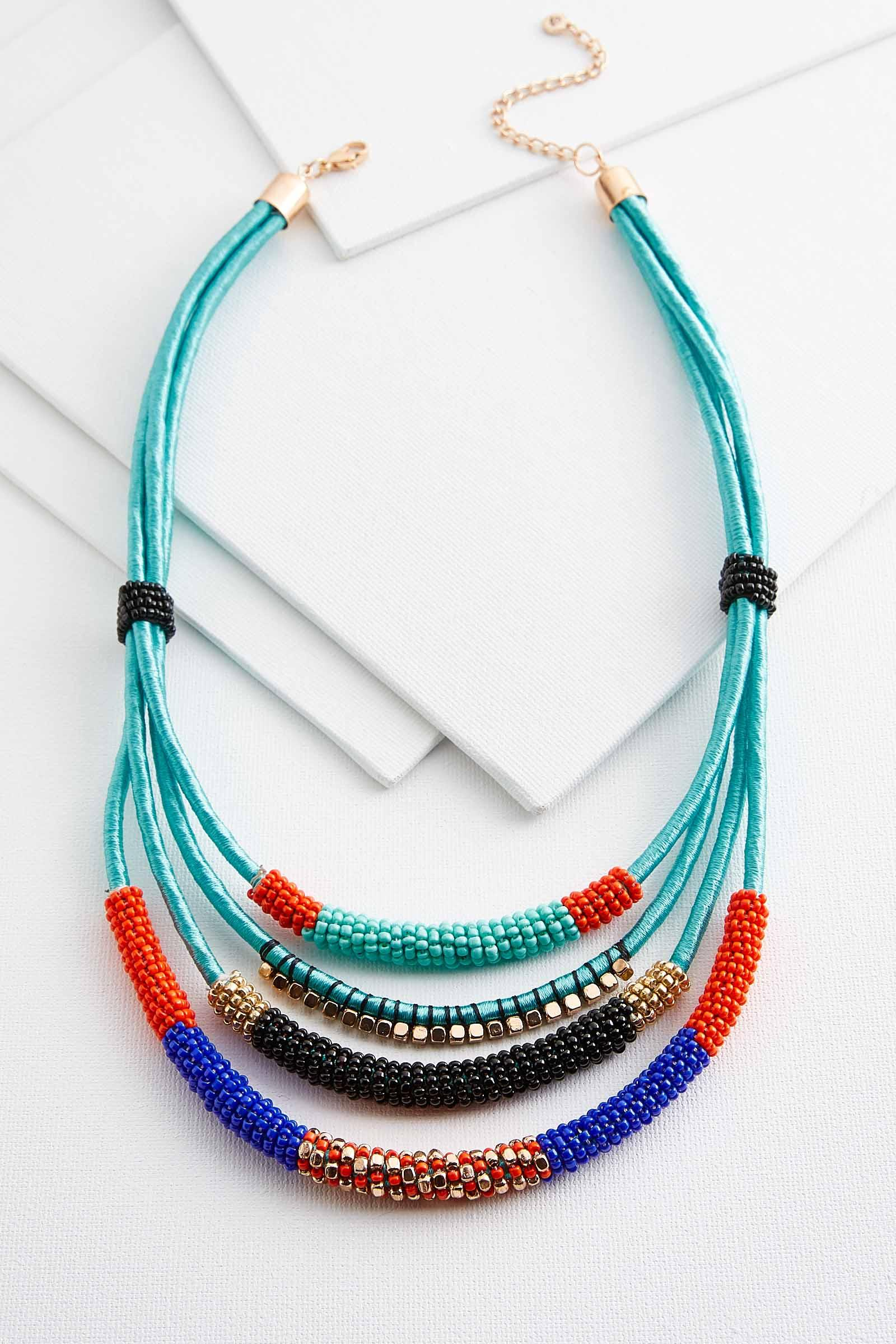 Layered Cord Seed Bead Necklace