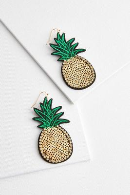 fabric pineapple earrings