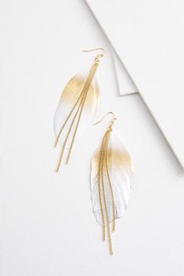 gold leaf chain earrings