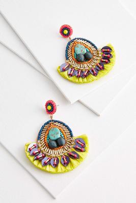 neon mixed material earrings