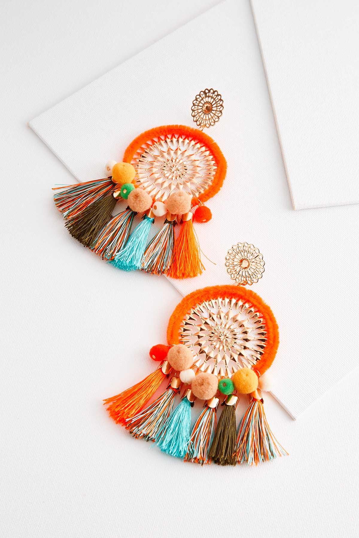 Orange Burst Tassel Earrings