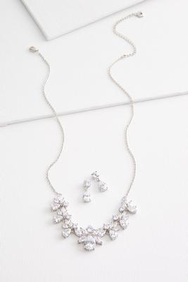 cluster stone necklace set