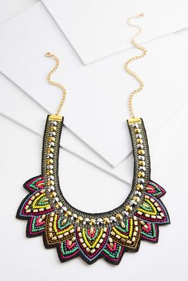 colorful metallic statement necklace