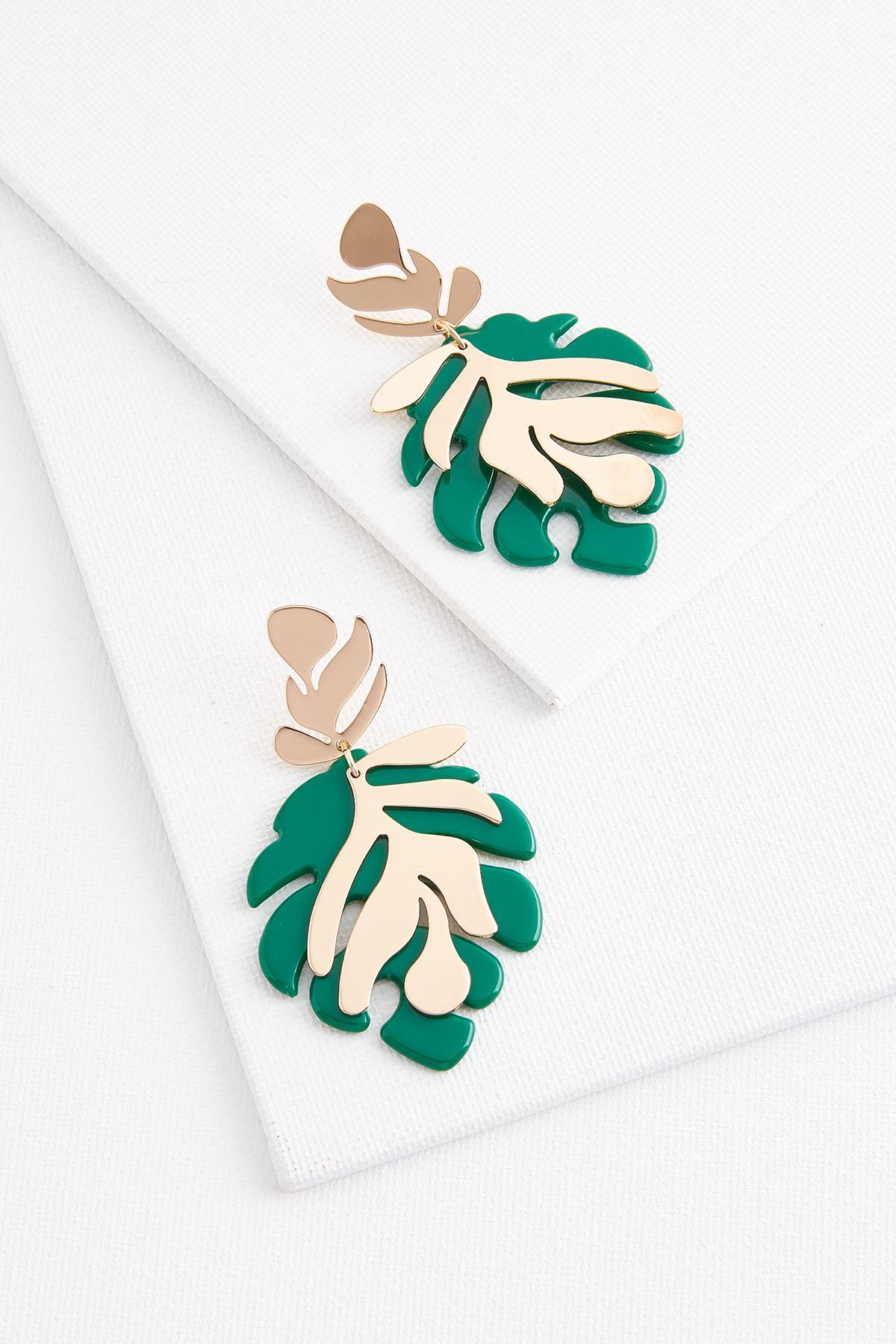 Lucite Metal Leaf Earrings