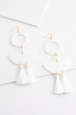 geo lucite tassel earrings