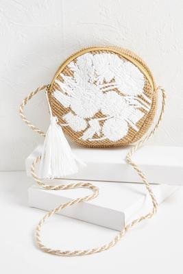 tasseled round jute bag
