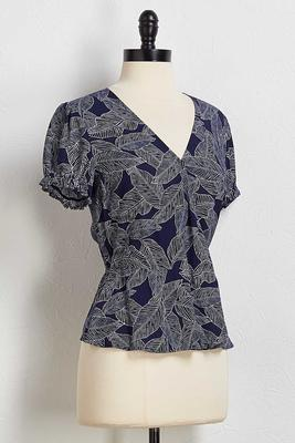 navy palm wrap top