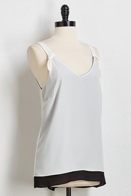 contrast tie shoulder tank