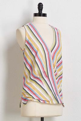multi stripe wrap top