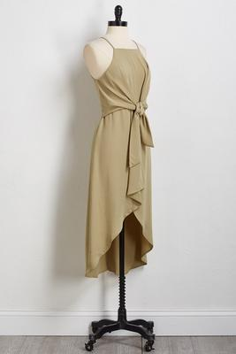 olive high-low midi dress