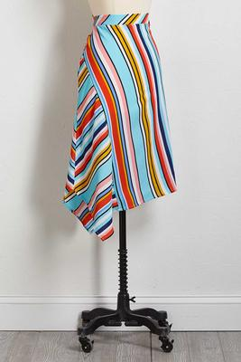 striped crepe asymmetrical skirt