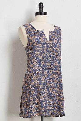 floral button tunic tank