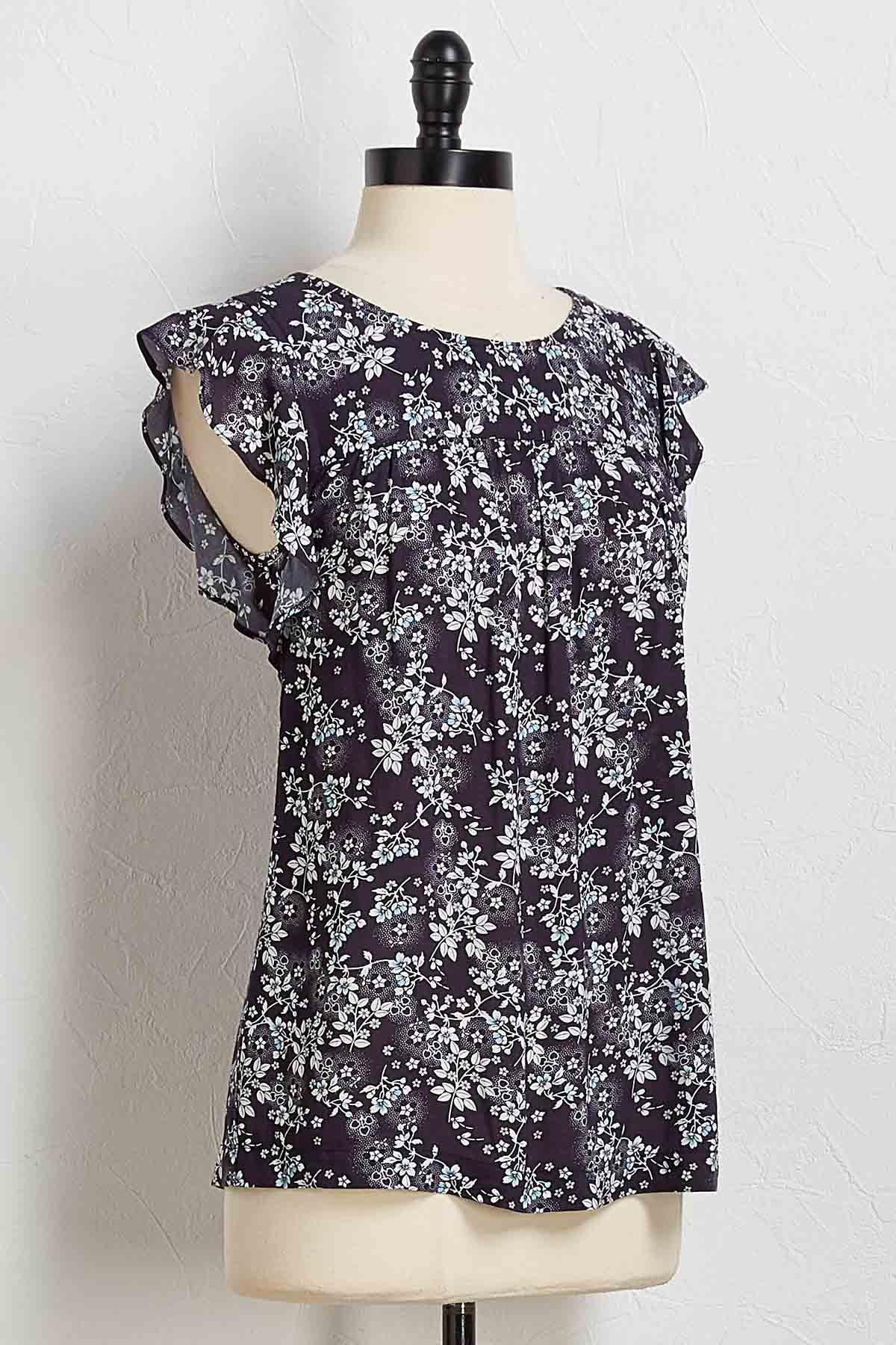 Navy Vine Floral Top