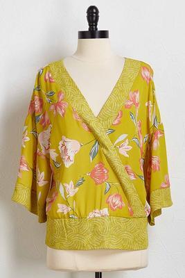 geo floral tie front top