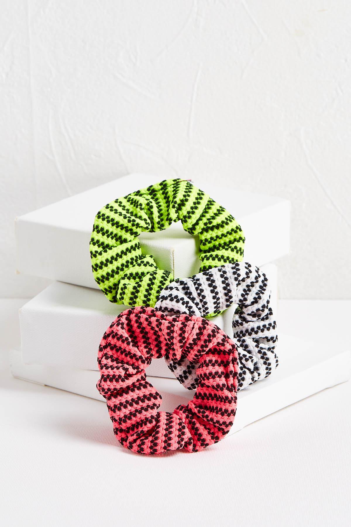 Dotted Stripe Scrunchie Set