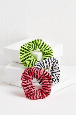 dotted stripe scrunchie set