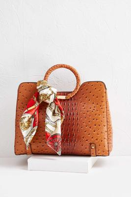 scarf handle faux ostrich satchel