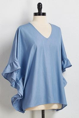 denim poncho top