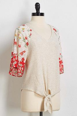 red floral sleeve waffle top