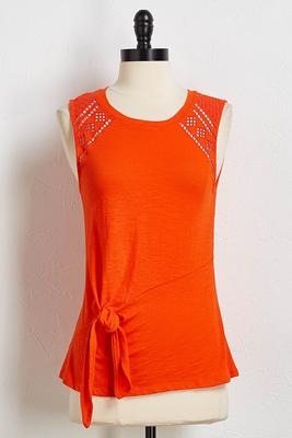 knotted crochet trim tank
