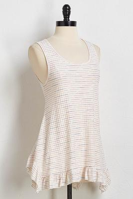 ruffle hem striped tank