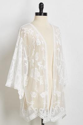 white floral lace kimono