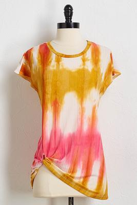 ribbed tie dye knotted top