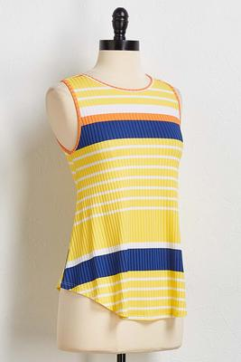 ribbed colorblock stripe tank